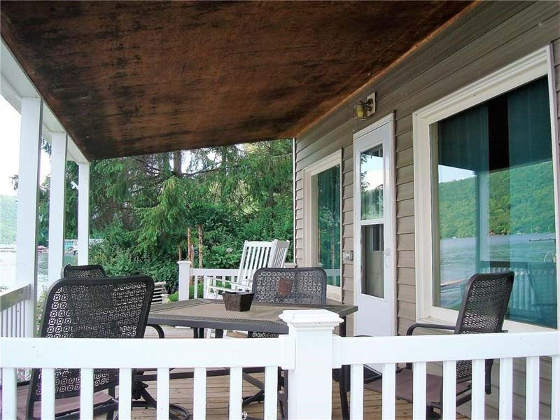 Covered Porch for Entertaining. Summer Ice Cottage on Keuka Lake