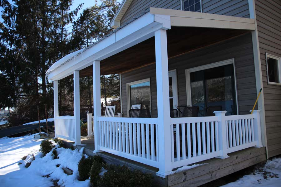 Covered deck at Summer Ice Cottage on Keuka Lake