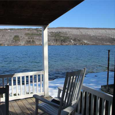 View from deck in winter at Summer Ice Cottage on Keuka Lake