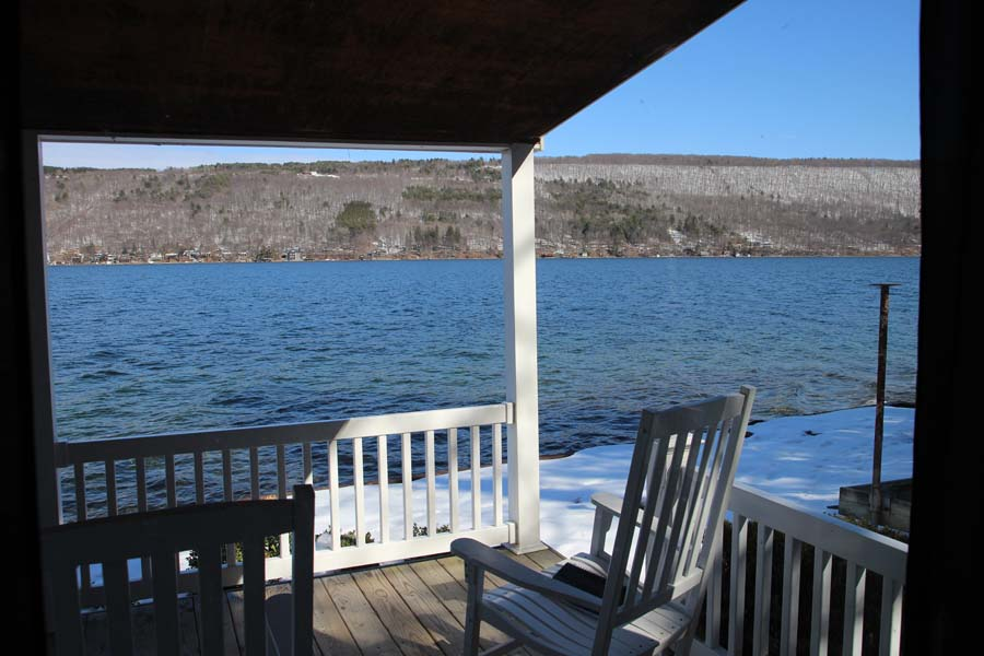 View across Keuka Lake from Summer Ice Cottage in winter