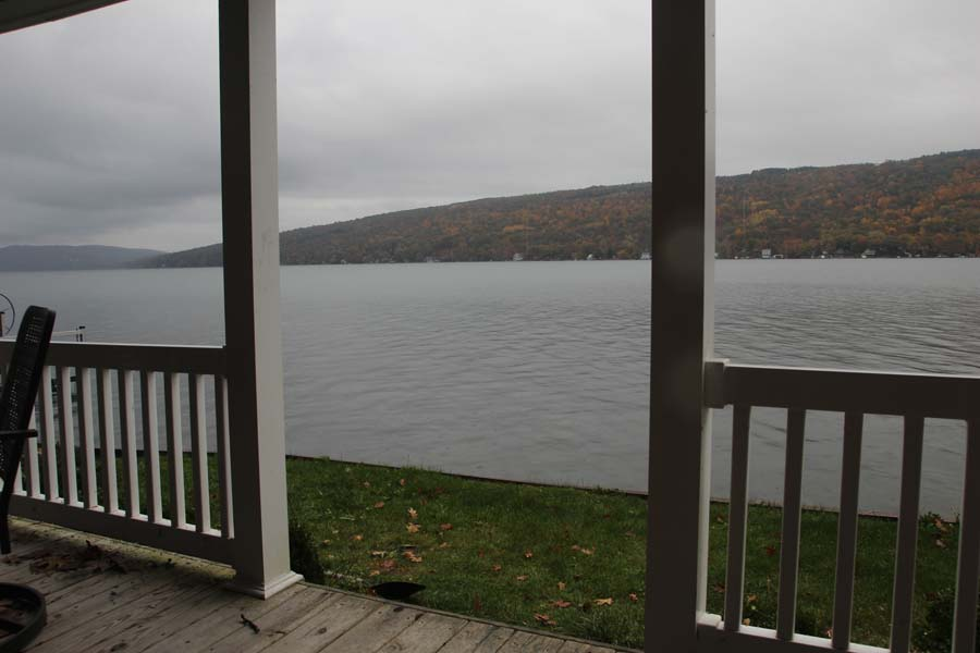 View across Keuka Lake in fall from deck of Summer Ice Cottage